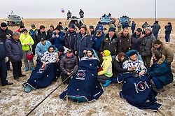 KAZAKHSTAN Near Zhezkazgan -- 02 Mar 2016 -- Scott Kelly (right) and Mikhail Kornienko (left) return to Earth after a record 340 days in space.The Soyuz TMA-18M spacecraft is seen as it lands with Expedition 46 Commander Scott Kelly of NASA and Russian cosmonauts Mikhail Kornienko and Sergey Volkov (centre) of Roscosmos near the town of Zhezkazgan, Kazakhstan on Wednesday, March 2, 2016 (Kazakh time). Kelly and Kornienko completed an International Space Station record year-long mission to collect valuable data on the effect of long duration weightlessness on the human body that will be used to formulate a human mission to Mars. Volkov returned after spending six months on the station. EXPA Pictures © 2016, PhotoCredit: EXPA/ Photoshot/ Bill Ingalls/Atlas Photo Archive<br />