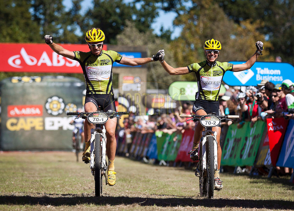 Eric and Arianne Kleinhans Celebrate their mixed team win during the final stage (stage 7) of the 2012 Absa Cape Epic Mountain Bike stage race held from Oak Valley Wine Estate in the Elgin Valley to Lourensford Wine Estate, South Africa on the 1 April  2012..Photo by Nick Muzik/Cape Epic/SPORTZPICS