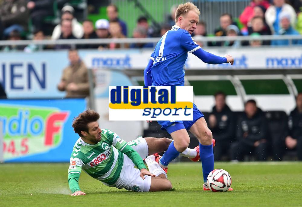 Fotball<br /> Tyskland<br /> Foto: imago/Digitalsport<br /> NORWAY ONLY<br /> <br /> 04.04.2015<br /> 2. Fussball - Bundesliga - 27. Spieltag: SpVgg Greuther Fürth Fuerth - BTSV Eintracht Braunschweig<br /> <br /> Marco Caligiuri (13, SpVgg Greuther Fürth ) gegen Håvard Nielsen (7, Eintracht Braunschweig ) - Szene zur rote Karte / Rot