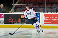 KELOWNA, CANADA - DECEMBER 5: Wil Kushniryk #27 of the Tri-City Americans warms up against the Kelowna Rockets on December 5, 2018 at Prospera Place in Kelowna, British Columbia, Canada.  (Photo by Marissa Baecker/Shoot the Breeze)