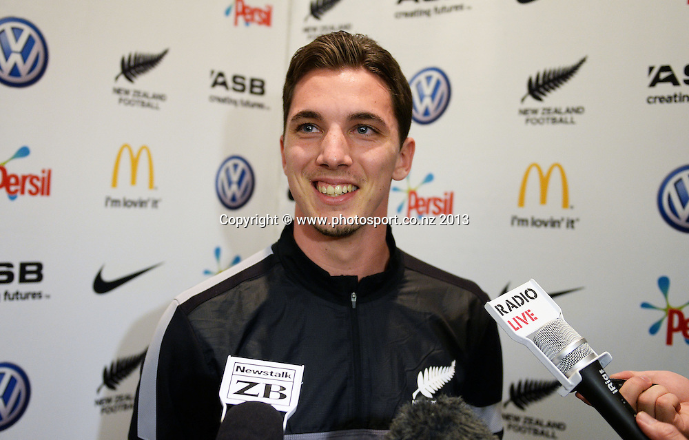 Storm Roux. All Whites training and media session in Wellington ahead of the 2nd leg FIFA World Cup Qualifier on Wednesday versus Mexico. Monday 18 November 2013. Photo: Andrew Cornaga/www.photosport.co.nz