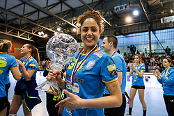 Lamprini Tsakalou of RK Krim Mercator with trophy and medal after handball match between RK Zagorje and RK Krim Mercator in Final game of Slovenian Women Handball Cup 2017/18, on April 1, 2018 in Park Kodeljevo, Ljubljana, Slovenia. Photo by Matic Klansek Velej / Sportida