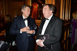 Left to right, BRYAN FERRY and JOHN WHITTINGDALE at the 10th anniversary Gala of the Russian Ballet Icons at the London Coliseum, St.Martin's Lane, London on 8th March 2015.