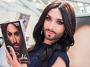 Conchita Wurst, Song Contest winner Conchita Wurst on the John Blake stand, launching her book Being Conchita. London Book Fair, Olympia, London, UK, 15 Apr 2015.