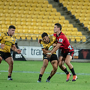 Action during the super rugby union game played on 23 March  2019, between Hurricanes v Crusaders, played at Westpac Stadium, Wellington, New Zealand, on 29 March 2019.  Final score 32-8 to the Crusaders.