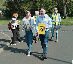 The SNP were campaigning in Livingston today ahead of the EU elections on 23rd May 2019.<br /> <br /> Alyn Smith MEP was joined by Hannah Bardell MP and volunteers going round talking to local households.<br /> <br /> Pictured: Hannah Bardell MP (left) and Alyn Smith MEP<br /> <br /> Alex Todd | Edinburgh Elite media