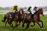 Faugheen and Ruby Walsh (4) lead the field from Melon and P Townend (5) and Buveur D'Air and Barry Geraghty (2) in the first circuit of the 3.25pm The Betway Aintree Hurdle (Grade 1) 2m 4fduring the Grand National Festival Week at Aintree, Liverpool, United Kingdom on 4 April 2019.