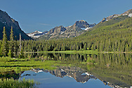 Gallatin Range reflections in Hyalite Reservoir in Hyalite Canyon south of Bozeman Montana