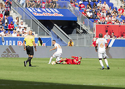 September 30, 2018 - Harrison, New Jersey, United States - Daniel Royer (77) of Red Bulls & Miguel Almiron (10) of Atlanta United FC fight for ball during regular MLS game at Red Bull Arena Red Bulls won 2 - 0  (Credit Image: © Lev Radin/Pacific Press via ZUMA Wire)
