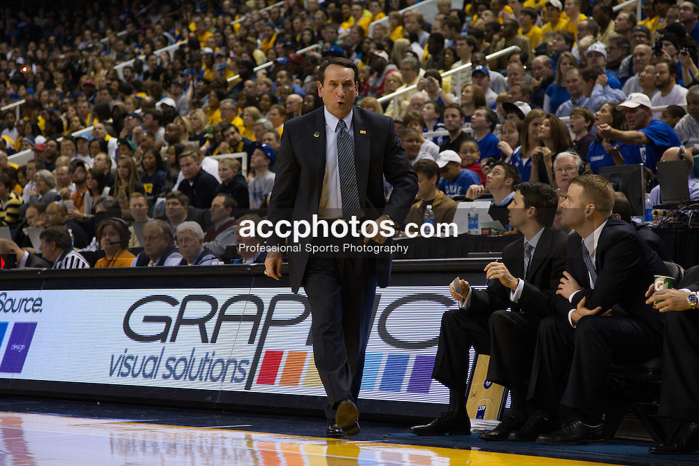 GREENSBORO, NC - DECEMBER 29: Duke Blue Devils head coach Mike Krzyzewski is upset with a call while playing the UNC-Greensboro Spartans on December 29, 2010 at the Greensboro Coliseum in Greensboro, North Carolina. Duke won 108-62 and with the win Mike Krzyzewski became the second all-time winningest Division I college basketball coach at 880 wins. (Photo by Peyton Williams/Getty Images) *** Local Caption *** Mike Krzyzewski