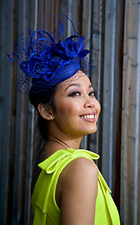 LIVERPOOL, ENGLAND - Thursday, April 6, 2017: Nok Srikaew, 30, from Thailand, wearing a dress from Asos, during The Opening Day on Day One of the Aintree Grand National Festival 2017 at Aintree Racecourse. (Pic by David Rawcliffe/Propaganda)