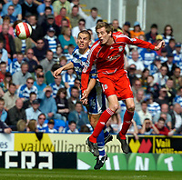 Photo: Ed Godden/Sportsbeat Images.<br />Reading v Liverpool. The Barclays Premiership. 07/04/2007. Liverpool's Peter Crouch (R) and Reading's Ivar Ingimarsson leap for the ball.