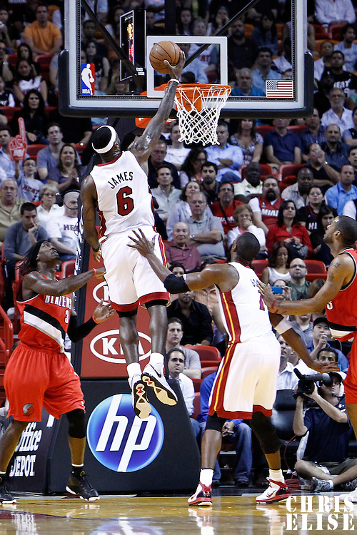 08 March 2011: Miami Heat small forward LeBron James (6) goes for the dunk during the Portland Trail Blazers 105-96 victory over the Miami Heat at the AmericanAirlines Arena, Miami, Florida, USA.