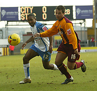 Photo: Aidan Ellis.<br /> Bradford City v Swindon Town. Coca Cola League 1. 11/02/2006.<br /> Bradford's Lewis Emanuel and Swindon's Ricky Shakes