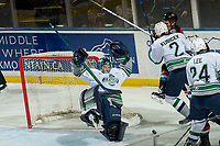 KELOWNA, CANADA - OCTOBER 10:  Liam Hughes #30 of the Seattle Thunderbirds loses his balance after colliding with Liam Kindree #26 of the Kelowna Rockets during first period on October 10, 2018 at Prospera Place in Kelowna, British Columbia, Canada.  (Photo by Marissa Baecker/Shoot the Breeze)  *** Local Caption ***