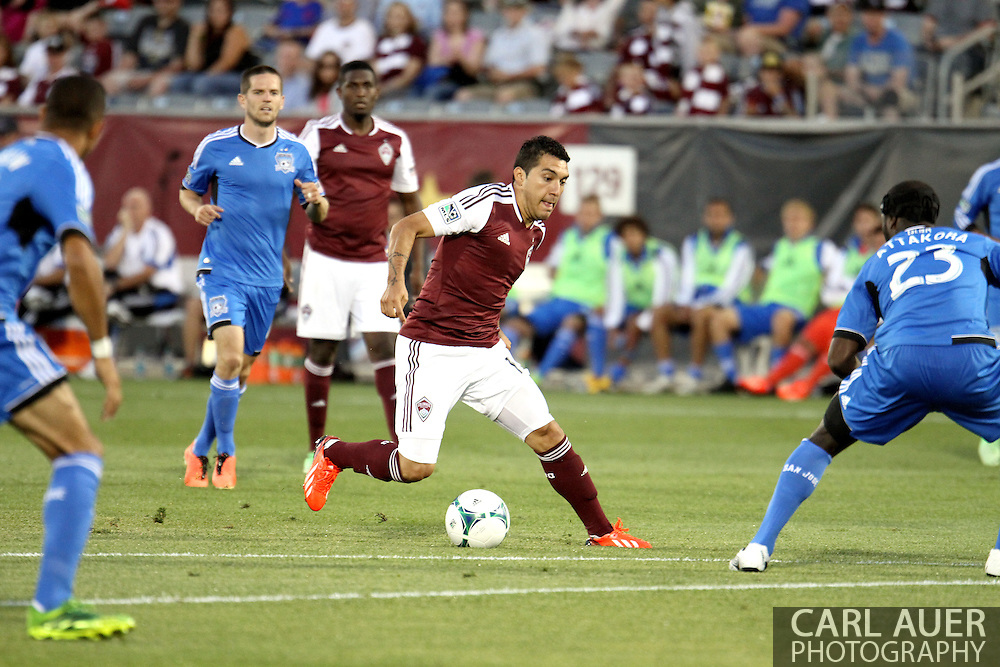 June 15th, 2013 - Colorado Rapids midfielder Martin Rivero (10) handles the ball just outside of the San Jose goal box in the second half of the MLS match between San Jose Earthquake and the Colorado Rapids at Dick's Sporting Goods Park in Commerce City, CO