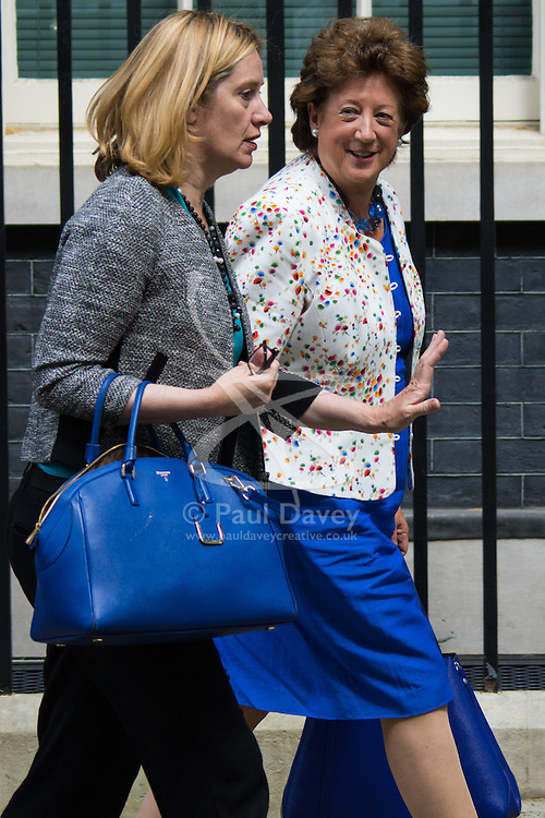 Downing Street, London, May 12th 2015. The all-conservatives Cabinet ministers gather for their first official meeting at Downing Street. PICTURED: Minister of State at the Foreign & Commonwealth Office Baroness Anelay , right and Amber Rudd, Secretary of State for Energy and Climate Change