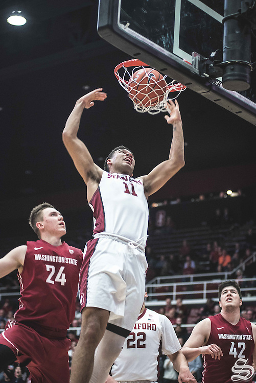 Dorian Pickens #11 bangs out vs. Washington State on January 12, 2017 at Maples Pavilion in Stanford, CA. Photo by Ryan Jae.