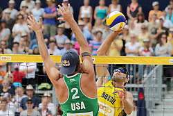 13.07.2014, Beach Village, Gstaad, SUI, FIVB Beach Volleyball Grand Slam Gstaad, im Bild Bruno Oscal Schmidt (BRA) gegen Sean Rosenthal (USA) // during the FIVB Beach Volleyball Grand Slam Gstaad at the Beach Village in Gstaad, Switzerland on 2014/07/13. EXPA Pictures © 2014, PhotoCredit: EXPA/ Freshfocus/ Claude Diderich<br /> <br /> *****ATTENTION - for AUT, SLO, CRO, SRB, BIH, MAZ only*****