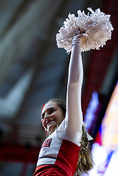 NORMAL, IL - February 22: Redbird Cheerleader during a college basketball game between the ISU Redbirds and the Drake Bulldogs on February 22 2020 at Redbird Arena in Normal, IL. (Photo by Alan Look)