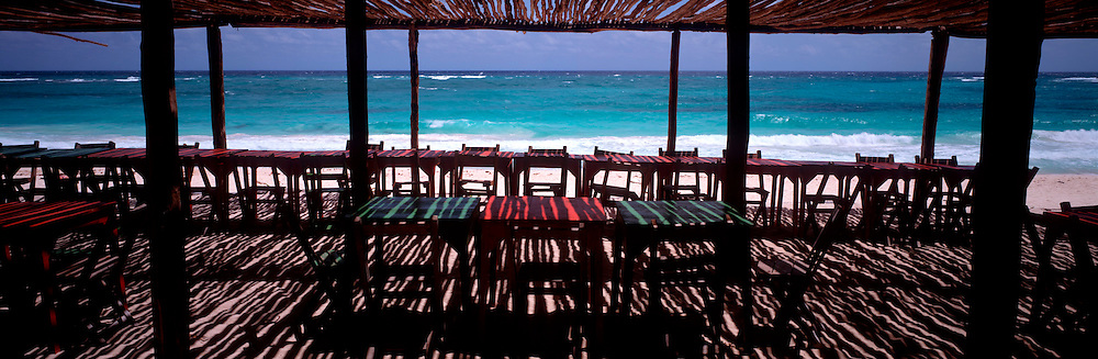 MEXICO, TOURISM, QUINTANA ROO Rustic beach front cafe south of Tulum on the Caribbean coast