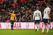 Lewis Collins of Newport County takes a free kick during the The FA Cup fourth round replay match between Tottenham Hotspur and Newport County at Wembley Stadium, London, England on 6 February 2018. Picture by Toyin Oshodi.
