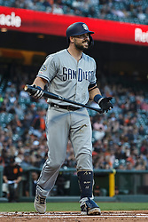 SAN FRANCISCO, CA - JUNE 12: Austin Hedges #18 of the San Diego Padres reacts after striking out against the San Francisco Giants during the second inning at Oracle Park on June 12, 2019 in San Francisco, California. The San Francisco Giants defeated the San Diego Padres 4-2. (Photo by Jason O. Watson/Getty Images) *** Local Caption *** Austin Hedges