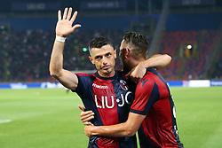 """Foto LaPresse/Filippo Rubin<br /> 25/05/2019 Bologna (Italia)<br /> Sport Calcio<br /> Bologna - Napoli - Campionato di calcio Serie A 2018/2019 - Stadio """"Renato Dall'Ara""""<br /> Nella foto: ESULTANZA GOAL BOLOGNA BLERIM DZEMAILI (BOLOGNA F.C.)<br /> <br /> Photo LaPresse/Filippo Rubin<br /> May 25, 2019 Bologna (Italy)<br /> Sport Soccer<br /> Bologna vs Napoli - Italian Football Championship League A 2018/2019 - """"Dall'Ara"""" Stadium <br /> In the pic: CELEBRATION GOAL BLERIM DZEMAILI (BOLOGNA F.C.)"""