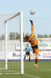 Raith Rovers keeper Lee Robinson can't stop Falkirk's Conor McGrandles's goal.<br /> half time : Falkirk 2 v 1 Raith Rovers, Scottish Championship game played today at The Falkirk Stadium.<br /> &copy; Michael Schofield.