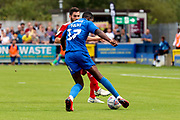 AFC Wimbledon attacker Michael Folivi (17) dribbling into box during the EFL Sky Bet League 1 match between AFC Wimbledon and Accrington Stanley at the Cherry Red Records Stadium, Kingston, England on 17 August 2019.