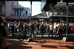 07 February 2010. New Orleans, Louisiana, USA. <br /> Super Bowl XL1V. New Orleans Saints fans gather in the French Quarter in anticipation of the big game in Miami later in the day as the home team goes head to head with the Indianapolis Colts for Super Bowl 44. <br /> Photo ©; Charlie Varley/varleypix.com