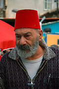 Haifa Israel, bearded man with red turkish hat