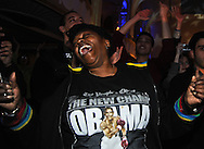 November 2, 2010- Diunth Payne, from Boston, celebrates after it is announced that Massachusetts Gov. Deval Patrick has won his re-election bid at a victory party at the Boston Park Plaza Hotel in Boston, MA.