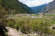 A general view of Langtang Village in the Langtang Valley, Nepal, 30th May 2009<br /> <br /> According to Dorothea Stumm, a glaciologist at the Nepal-based International Centre for Integrated Mountain Development, a massive hanging glacier cracked when an earthquake struck at 11.56am on the 25th April 2015. The ice formed a cloud that gathered snow and rocks and then funnelled down the mountain, burying the village, and creating an enormous pressurised blast. 400 residents of the village and up to 100 trekkers are believed to have been killed.<br /> <br /> PHOTOGRAPH BY AND COPYRIGHT OF SIMON DE TREY-WHITE<br /> <br /> + 91 98103 99809<br /> email: simon@simondetreywhite.com<br /> photographer in delhi