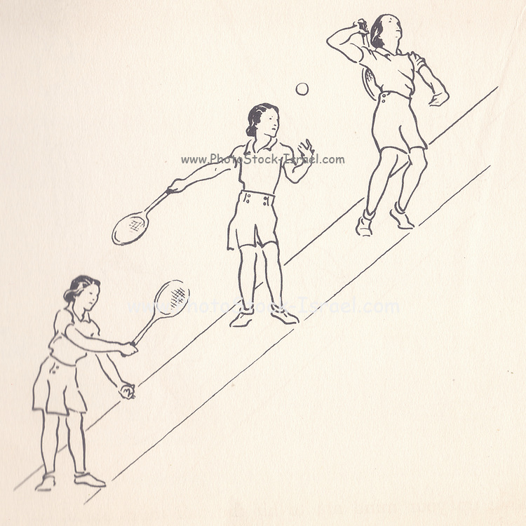 Serving illustrations from Lawn Tennis. May I Introduce you? How to play tennis book by Evelyn Dewhurst with sketches by Aubrey Weber. Published in London by Sir Isaac Pitman & Sons in 1940