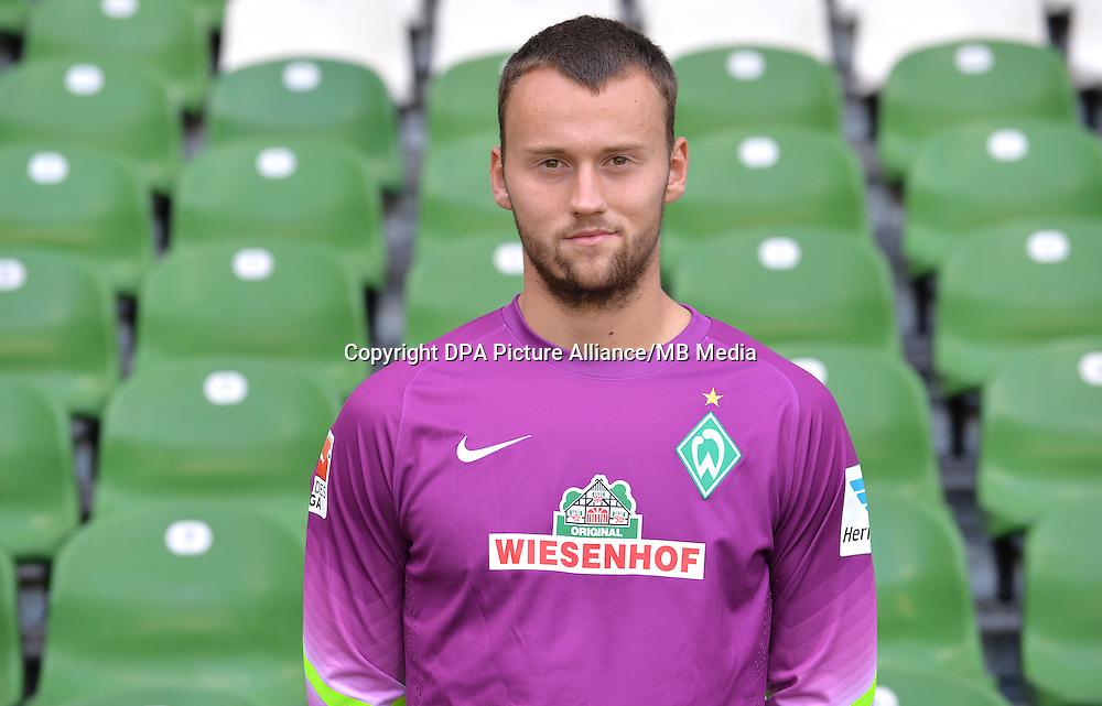 German Soccer Bundesliga - Official Photocall Werder Bremen,  Germany, on Sept. 14th 2014:<br /> Goalkeeper Raif Husic.