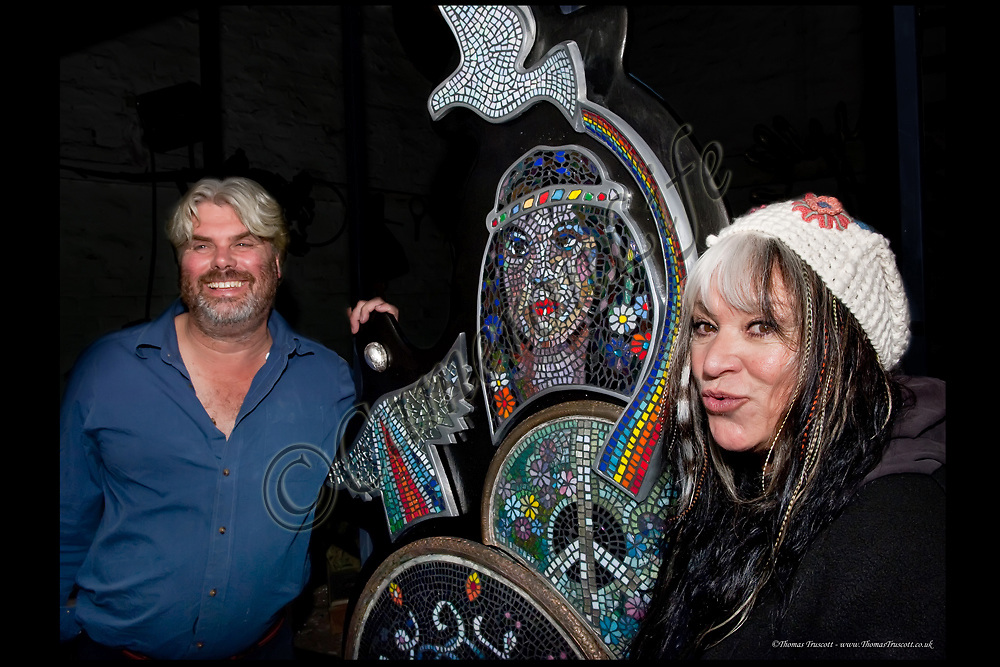 "Guy Portelli with Melanie Safka and his piece entitled ""Love and Light"" in 2011"
