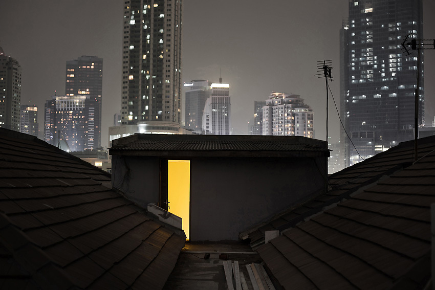 JAKARTA, INDONESIA, MARCH 2013: A view of Jakarta's business district at night.
