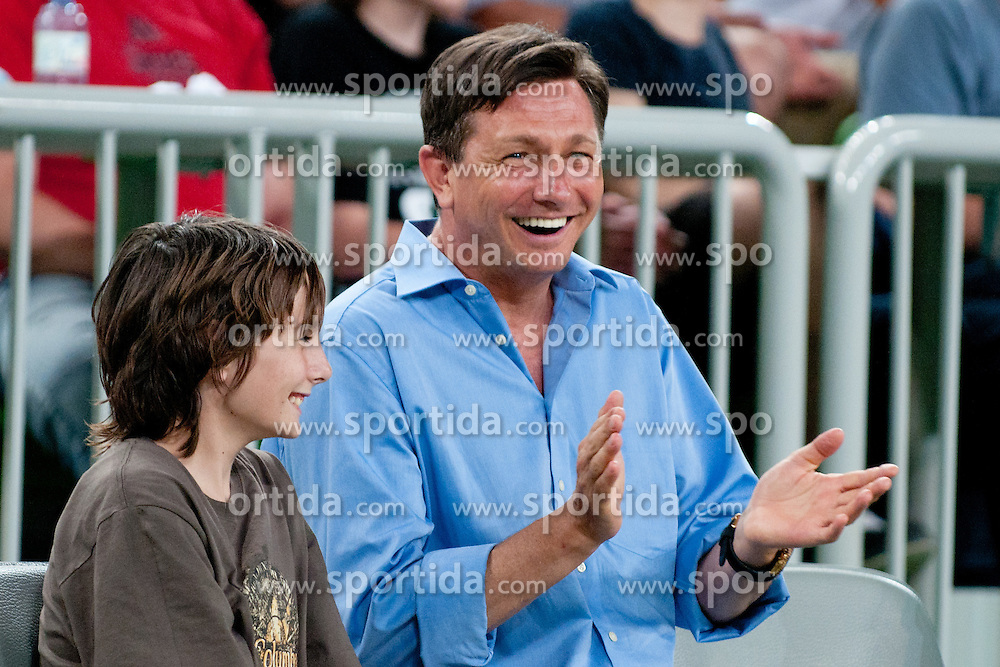 Slovenian prime minister Borut Pahor with his son enjoying the show at The Harlem Globetrotters Show, on May 26, 2011 in SRC Stozice, Slovenia. (Photo by Matic Klansek Velej / Sportida)