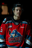 KELOWNA, BC - NOVEMBER 30:  Sean Comrie #3 of the Kelowna Rockets lines up against the Prince George Cougars at Prospera Place on November 30, 2019 in Kelowna, Canada. (Photo by Marissa Baecker/Shoot the Breeze)
