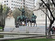 Statues of Don Quixote and Sancho Panza, Monument to Miguel de Cervantes, Plaza de España, Madrid, Spain