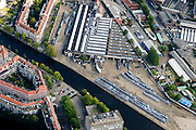 Nederland, Noord-Holland, Amsterdam, 27-09-2015; Amsterdam-Zuid, Havenstraat. Remise Havenstraat. <br /> Amsterdam (Old) South neighbourhood, depot for streetcars. <br /> <br /> luchtfoto (toeslag op standard tarieven);<br /> aerial photo (additional fee required);