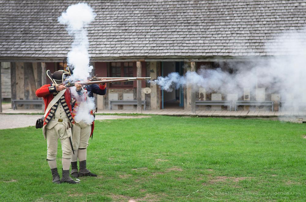 Musket firing demonstration. Colonial Michilimackinac, Mackinaw City Michigan.