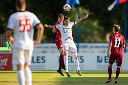 Kristjan Arh Cesen of NK Triglav Kranj and Anton Rogina of NK Aluminij during football match between NK Triglav Kranj and NK Aluminij in 2nd Round of Prva liga Telekom Slovenije 2018/19, on July 28, 2018 in Sports park Kranj, Kranj, Slovenia. Photo by Urban Urbanc / Sportida
