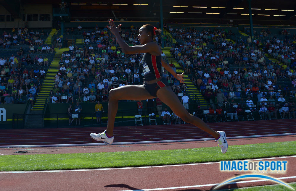 Jun 7, 2013; Eugene, OR, USA; Shanieka Thomas of San Diego State wins the womens triple jump at 46-4 3/4 (14.14m) in the 2013 NCAA Championships at Hayward Field.
