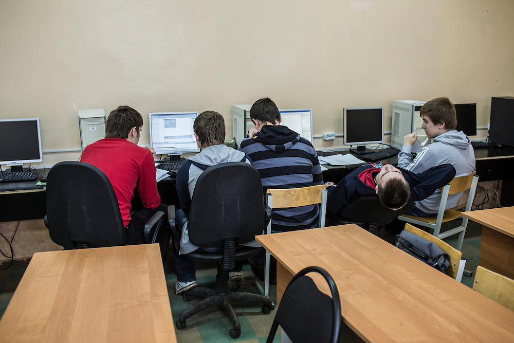 Students in a computer science class taught by Larisa Ishkova at Kanyayev College on Tuesday, February 25, 2014 in Tver, Russia. Ishkova also taught Alexander Panin, a Russian citizen who was arrested in the Dominican Republic in June 2013, and is set to be charged by federal authorities in the US with being part of a gang which robbed bank accounts via the Internet. Photo by Brendan Hoffman, Freelance