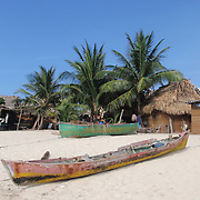 The small island of Chachahuate, where a population of less than 100 Garifuna islanders carve out an existence from the Caribbean.  Cayos Cochinos, Honduras, May 2009.