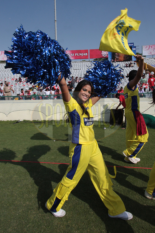 Cheer leaders during match 9 of the Indian Premier League ( IPL ) Season 4 between the Kings XI Punjab and the Chennai Super Kings held at the PCA stadium in Mohali, Chandigarh, India on the 13th April 2011..Photo by Anil Dayal/BCCI/SPORTZPICS