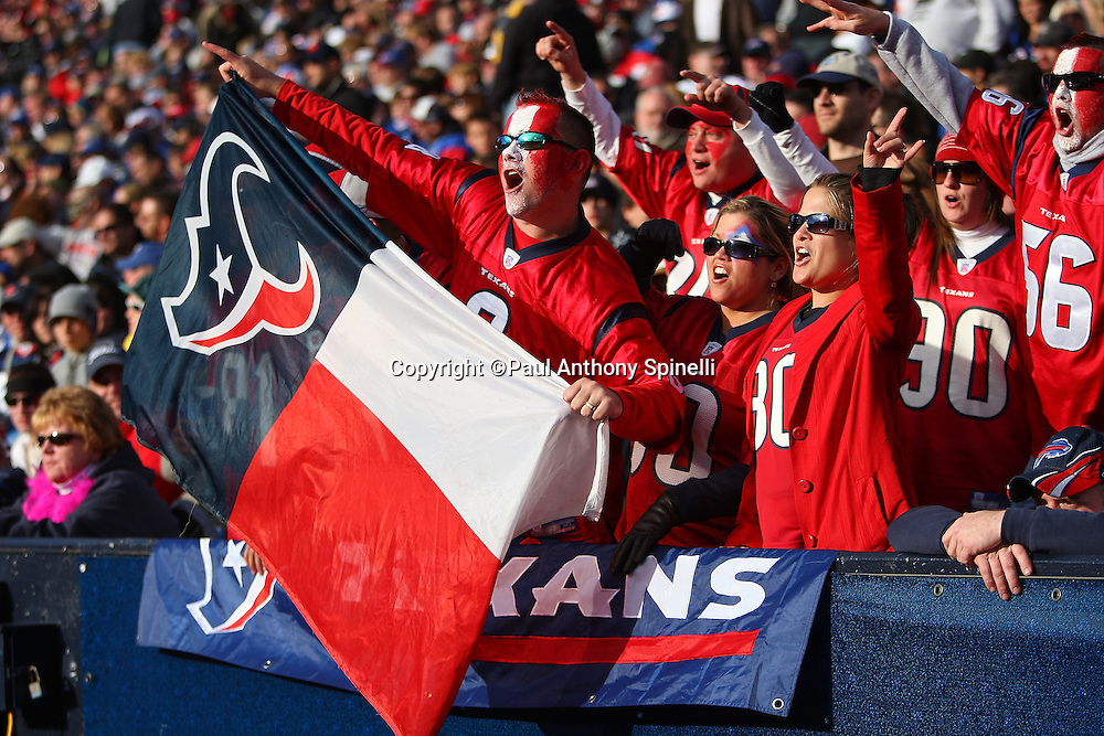 Houston Texans fans with Texans jerseys, painted faces, and a team flag cheer during the NFL football game against the Buffalo Bills, November 1, 2009 in Orchard Park, New York. The Texans won the game 31-10. (©Paul Anthony Spinelli)