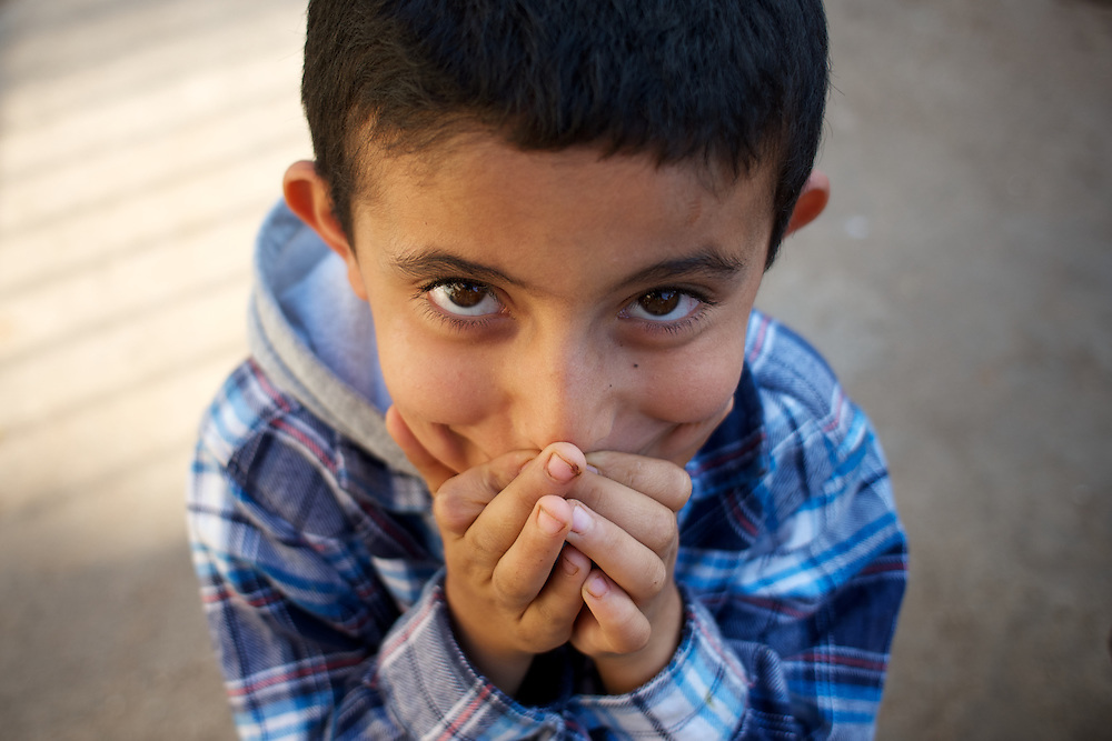 Portrait of a Syrian refugee child at a refugee center in Wadi Khaled, lebanon.
